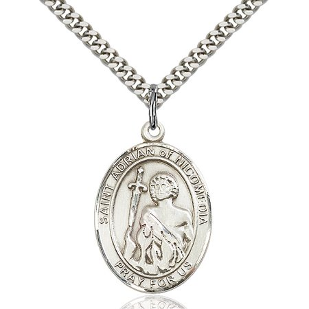 Sterling Silver St. Adrian of Nicomedia Pendant 1 x 3/4 inches with Heavy Curb (Adriana Pendant)