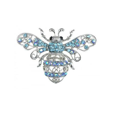 Rhinestone Bee Pin - Silver Tone Aqua Light Blue Crystal Rhinestone Queen Bee Fly Insect Pin Brooch