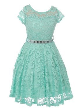 8408f506c097 Product Image Little Girls Mint Lace Glitter Stone Belt Special Occasion  Skater Dress