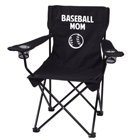 Baseball Mom Black Folding Camping Chair With Carry Bag