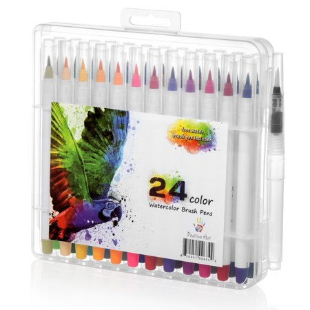 Watercolor Brush Pen 24 Colors By Positive Art: 24 Colors And 1 Free Water Coloring Brush With Flexible Tip For Precision, For Adult Crafts, Manga, Comic, And Calligraphy, Odorless And Non-Toxic ()