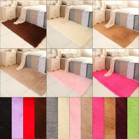 (80*120cm/31.49*47.24Inch)Soft Fluffy Rugs Anti-Skid Shaggy Area Rug Dining Room Home Bedroom Silk Carpet Floor Mat 12 Colors - Red Floor
