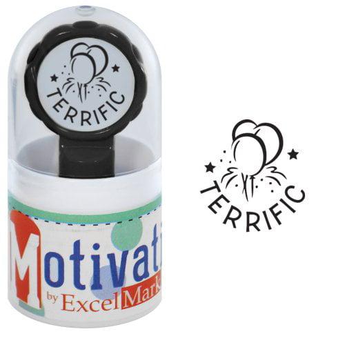 Motivations Pre-inked Teacher Stamp - Terrific (Balloons) - Black