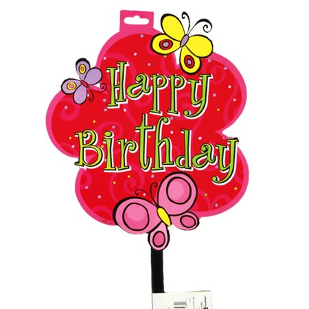 9.8 X 11.43 X 26H Happy Birthday Hot Pink Butterfly Yard Sign, Case of -