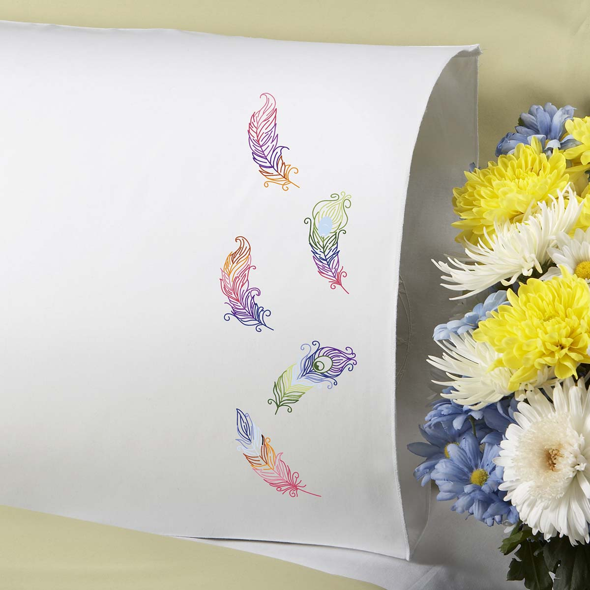 Herrschners® Fanciful Feathers Pillowcase Pair Stamped Embroidery