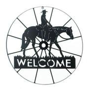 Door Welcome Sign, Cowboy Wheel Outdoor Home Decor Metal Welcome Door Sign