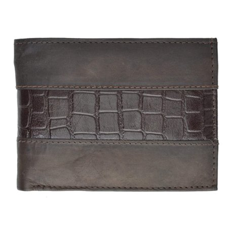 Special Series Genuine Leather Mens Double Flap Up 4 ID Windows Bifold Wallet 5532 CF (C) (Leather Double Window)
