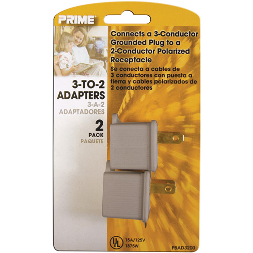 Prime Wire 3-to-2 Adapter, Gray, 2-Pack