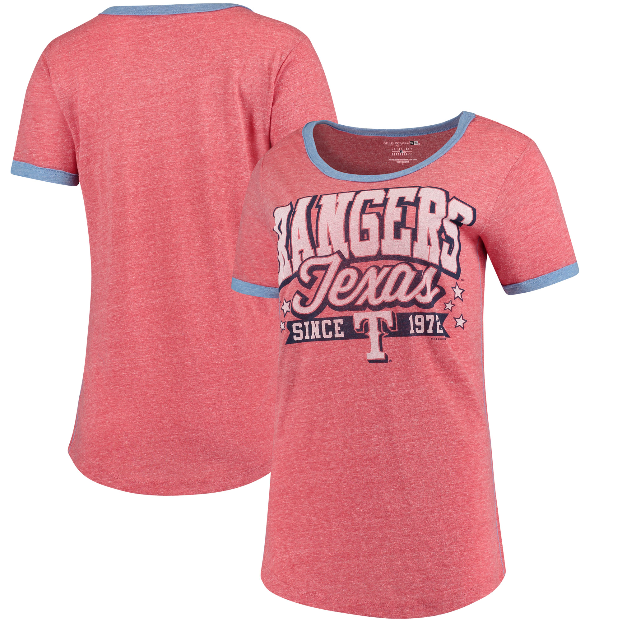 Texas Rangers 5th & Ocean by New Era Women's Jersey Ringer Tri-Blend T-Shirt - Red/Royal