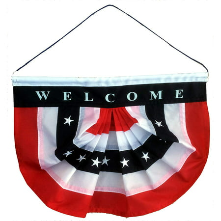GiftWrap Etc. Patriotic Welcome Sign Front Door - Porch Decor, Hanging Door Decorations, Rustic, Country, Farmhouse, American Flag Bunting Banner, 10
