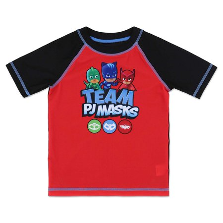 84eac195 PJ Masks Toddler Boys' Rash Guard Swim Shirt Owlette, Catboy, and Gekko -