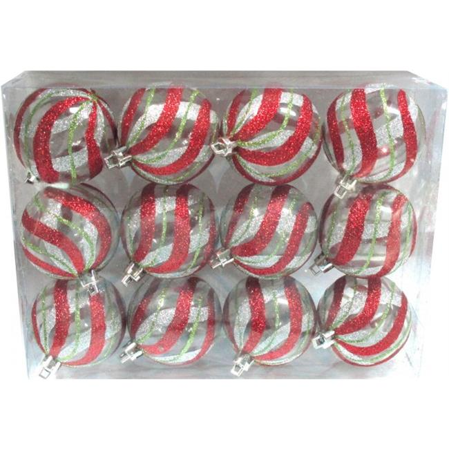 Queens of Christmas WL-ORN-12PK-CL-RSG Clear Ball Ornament with Red, Silver & Gold swirl Design - Pack of 12