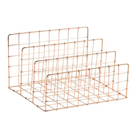 Desktop File Organizer - 3 Vertical Compartments Wire Metal Mesh Organizer, Letter Mail Sorter, Rose Gold, 11.6 x 6.75 x 9.2 Inches ()