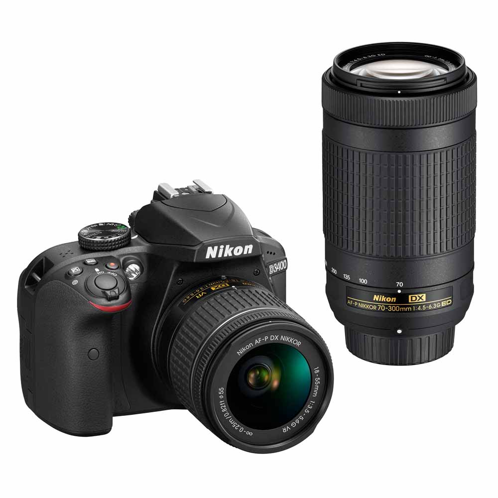 Nikon D3400 Digital SLR Camera with 24.2 Megapixels and 18-55mm and 70-300mm Lenses Included by Nikon
