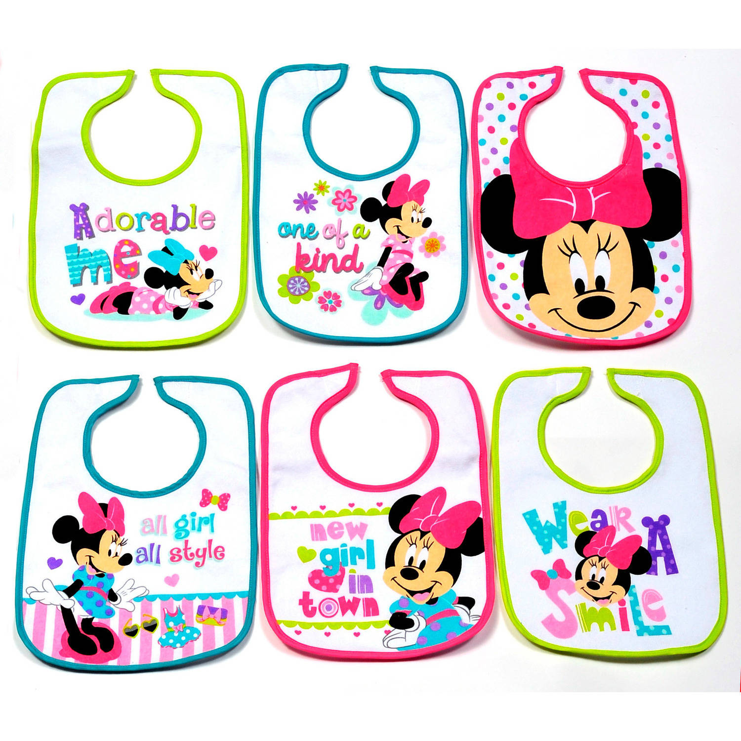 Disney Infant Bibs, Minnie Mouse, 6 count