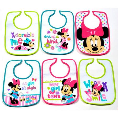 Disney Infant Bibs  Minnie Mouse  6 Count