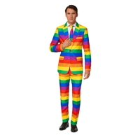 Yellow and Green Rainbow Themed Men Adult Slim Fit Suit - 2XL
