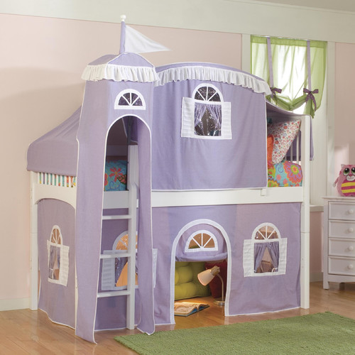 Harriet Bee Bonneau Traditional Twin Low Loft Bed with Wood Frame