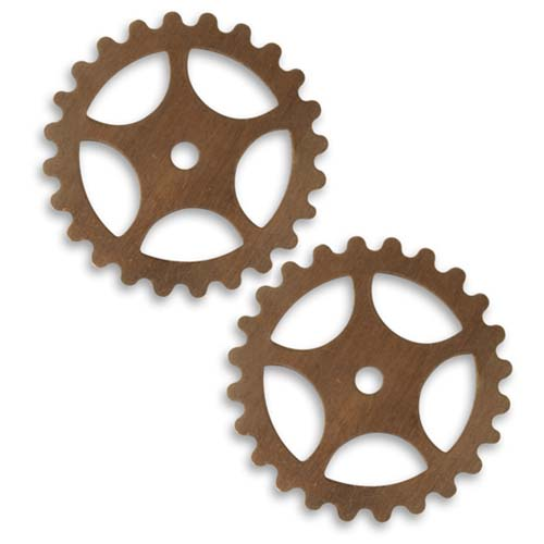 Vintaj Natural Brass Stamping Steampunk Spoked Gear Cog Wheel 26mm (2)