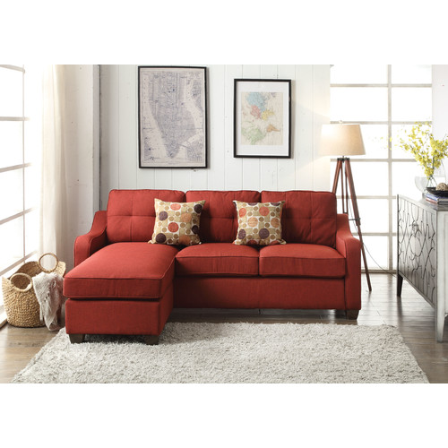 ACME Cleavon II Sectional Sofa & 2 Pillows, Red Linen