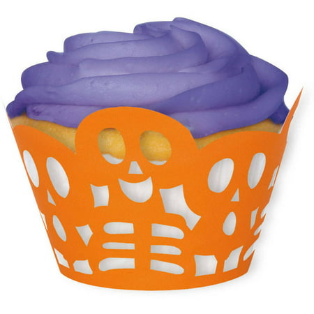 Die Cut Orange Skeleton Halloween Cupcake Wrappers, 12-Count (Decorating Halloween Cupcakes Ideas)