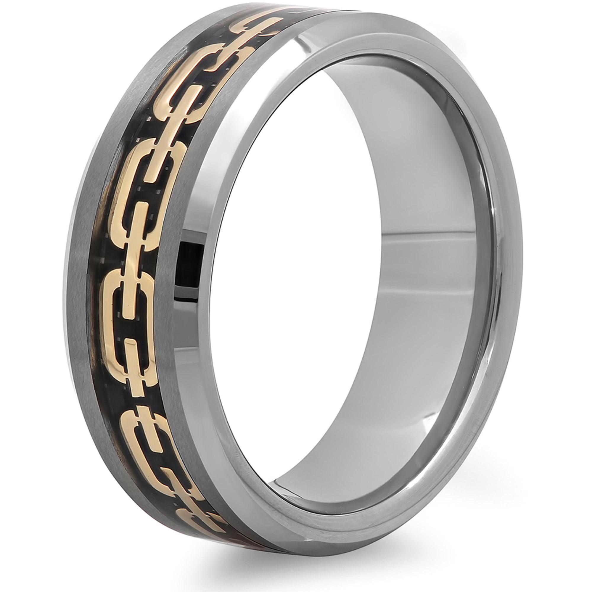 men s tungsten 8mm chain link inlay wedding band mens ring