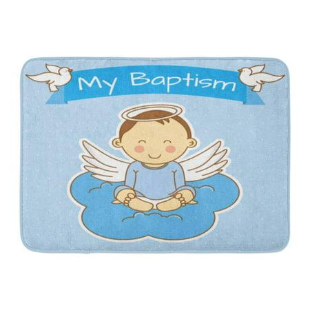 JSDART Blue Baby Angel Wings on Cloud Boy Baptism Christening Anniversary Doormat Floor Rug Bath Mat 23.6x15.7 inch - image 1 de 1