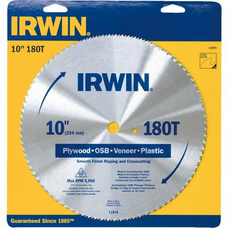 "Irwin 11870 10"" 180T Steel Circular Saw Blades Wood Cutting"