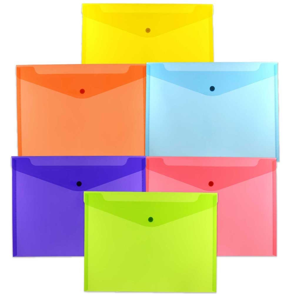 JAM Paper Plastic Envelope with Snap Closure, Letter Booklet, 9 3/4 x 13, Assorted Colors, 6/pack