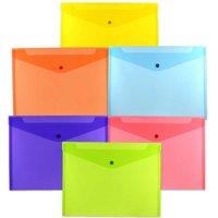 JAM Plastic Snap Envelopes, 9.8x13, 6/Pack, Assorted