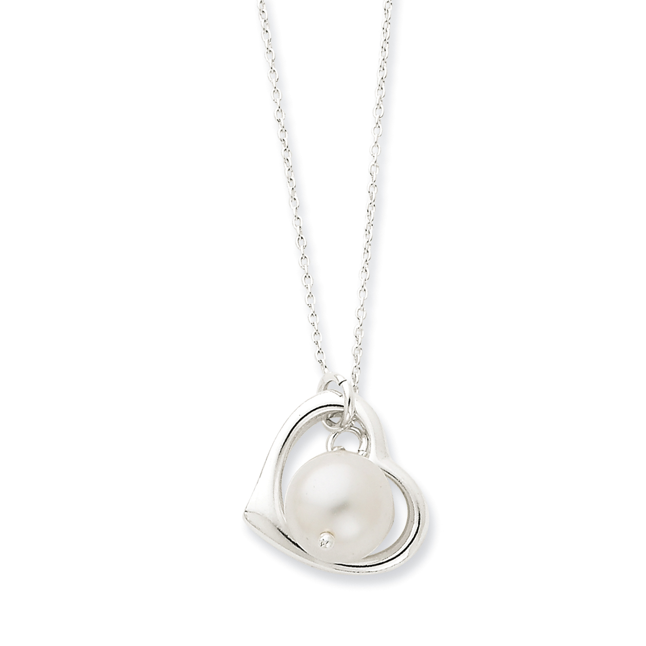 925 Sterling Silver and Simulated Pearl Polished Heart Necklace 18 Inch - image 2 de 3