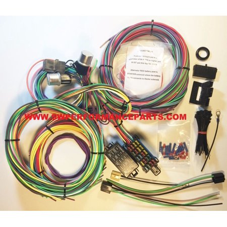 new 21 circuit ez wiring harness mini fuse chevy ford hotrods universal xl  wires - swpp - walmart com