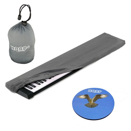 HQRP Elastic Dust Cover Case w/ Bag (Gray) for Yamaha DGX-650 / DGX-650B /  Piaggero NP-31 / NP-11 / NP-V60 / NP-V80 Electronic Keyboard Digital Piano