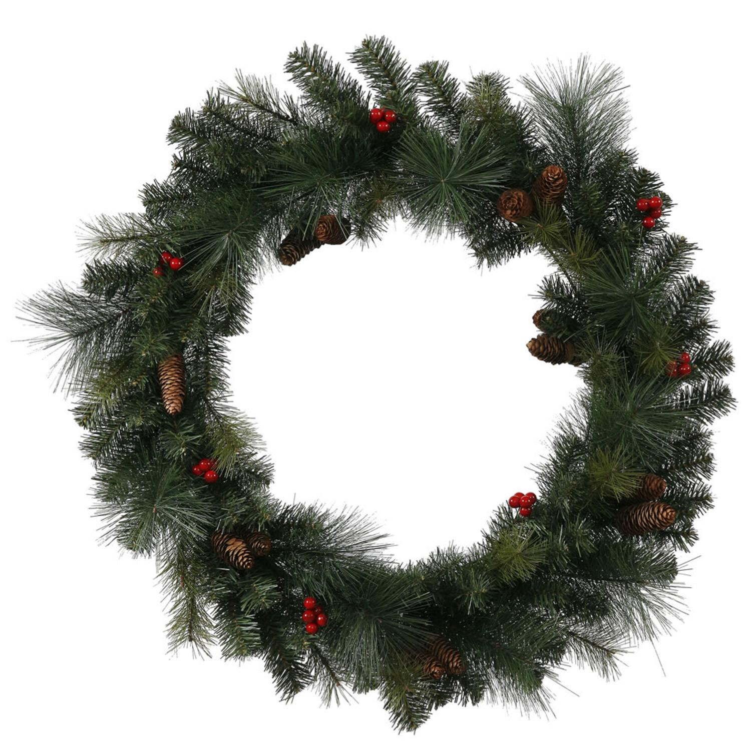 "36"" Mixed Pine Berry and Pine Cone Artificial Christmas Wreath - Unlit"