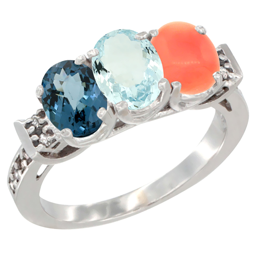 10K White Gold Natural London Blue Topaz, Aquamarine & Coral Ring 3-Stone Oval 7x5 mm Diamond Accent, sizes 5 10 by WorldJewels