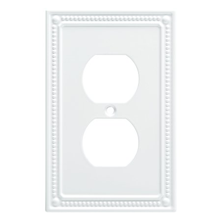 Franklin Brass Classic Beaded Single Duplex Wall Plate in Pure White