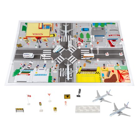 Hey! Play! Airport Playset – 43 Piece Diecast and Plastic Airplane and Delivery Truck Toys with Mat and Accessories