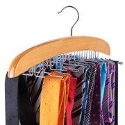 Ohuhu Wooden Tie Rack Hangers Rotating Twirl 24 Tie Organizer Rack Hanger Holder Hook