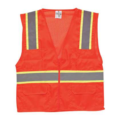 ML KISHIGO High Visibility Vest,Class 2,M,Orange 1164-M