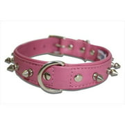 Spiked Studded Leather Dog Collar, Padded, Double-Ply, 18' x 3/4', Pink, Leather (Rotterdam Spiked) French Bulldog, Cocker Spaniel, Collie, Beagle