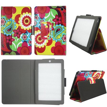 Red Flower Paisley Folio Case for Kindle Fire HD 7 Tablet (2014 Release) Slim Fit Leather Standing Protective Cover with Auto Sleep/Wake Feature ()