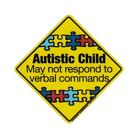 "Magnetic Bumper Sticker - Autistic Child Warning (Autism Awareness) - Diamond Shaped Magnet - 5.5"" x 5.5"""