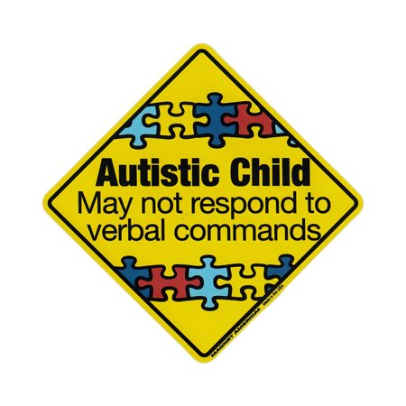 Magnetic Bumper Sticker - Autistic Child Warning (Autism Awareness) - Diamond Shaped Magnet - 5.5