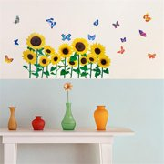 HL-966 Sunflowers & Butterflies 2 - Wall Decals Stickers Appliques Home Decor