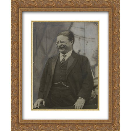 In A Jovial Mood Theodore Roosevelt  Member  Advisory Board  American Defense Society  20X24 Double Matted Gold Ornate Framed Art Print