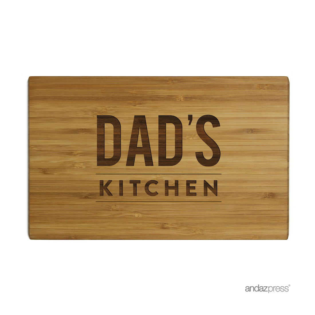 Andaz Press Laser Engraved Small Bamboo Wood Cutting Board, 9.5 x 6-inch, Dad's Kitchen, 1-Pack by
