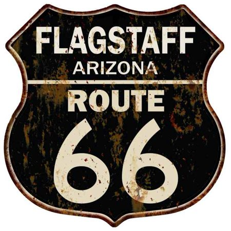 Wall Route 66 Metal Sign (FLAGSTAFF, ARIZONA Route 66 Shield Metal Sign Man Cave Garage 211110014015 )