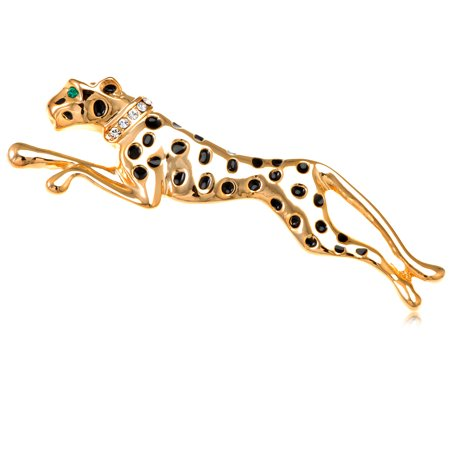Golden Tone Running Cheetah Black Crystal Rhinestone Panther Custom Pin (Tone Crystal Brooch)