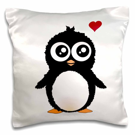3dRose Cute penguin with love heart - black and white cartoon - sweet kawaii adorable baby animal on white, Pillow Case, 16 by - Black And White Sweet Sixteen