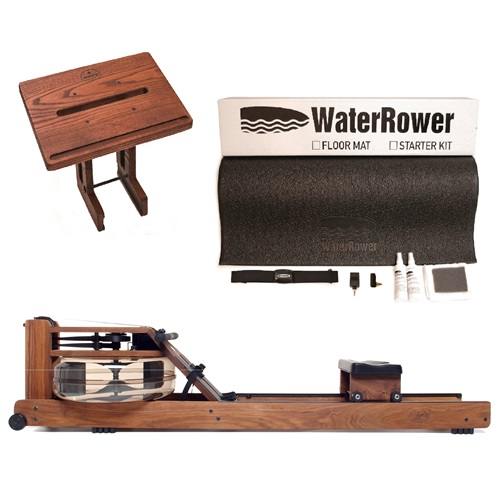 WaterRower Classic Rowing Machine Bundle with S4 Monitor, Laptop Stand and External Starter Kit